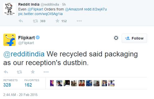 Flipkart tweet about amazon